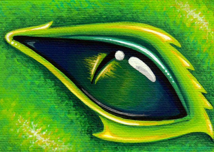 Green Dragon Greeting Card featuring the painting Eye Of Cepheus by Elaina Wagner