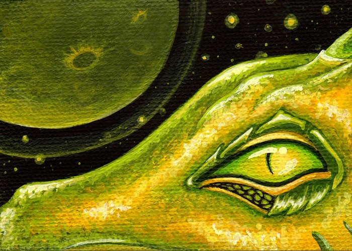 Green Dragon Greeting Card featuring the painting Eye Of Moon Crater by Elaina Wagner