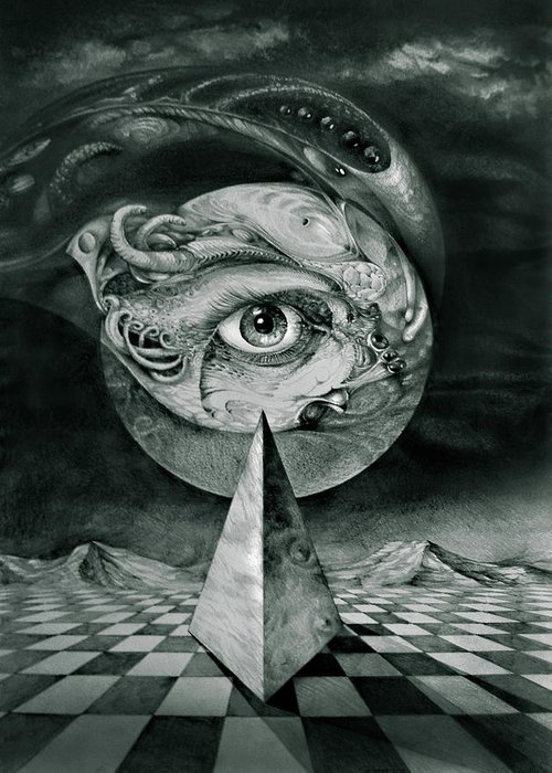 otto Rapp Surrealism Greeting Card featuring the drawing Eye Of The Dark Star by Otto Rapp
