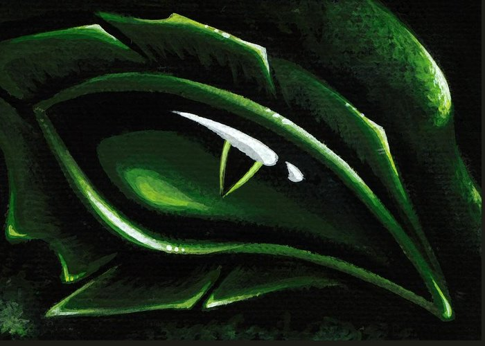 Green Dragon Greeting Card featuring the painting Eye Of The Emerald Green Dragon by Elaina Wagner