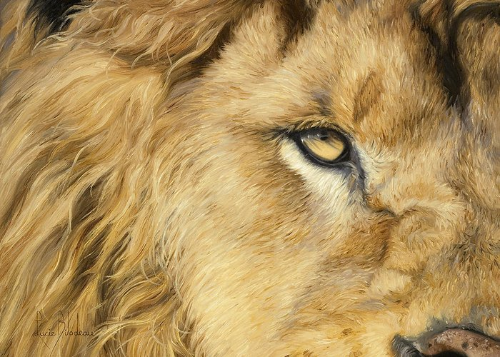 Lion Greeting Card featuring the painting Eye Of The Lion by Lucie Bilodeau