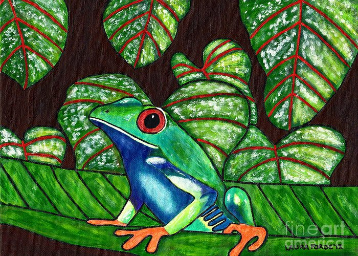 Frog Greeting Card featuring the painting Eye On You by Laura Forde