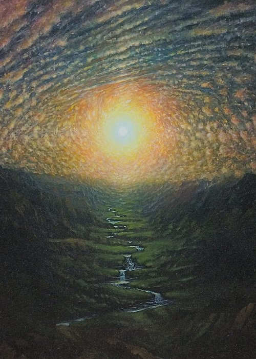 Sun Greeting Card featuring the painting Eye Sky by Karma Moffett