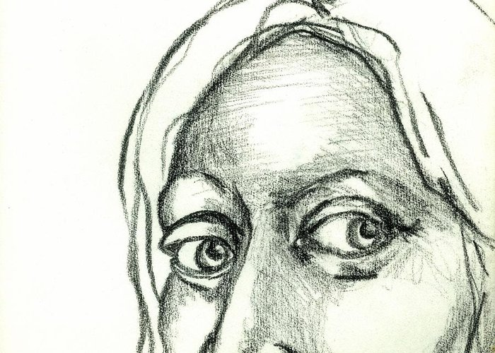 Drawing Greeting Card featuring the drawing Eyes - The Sketchbook Series by Michelle Calkins