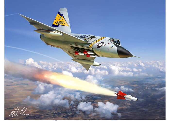 Aviation Greeting Card featuring the painting F-106 Delta Dart 5th Fis by Mark Karvon