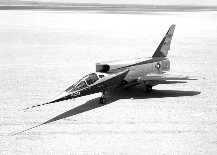 F-107a Greeting Card featuring the photograph F-107a Airplane, Nasa Testing, 1959 by Science Photo Library