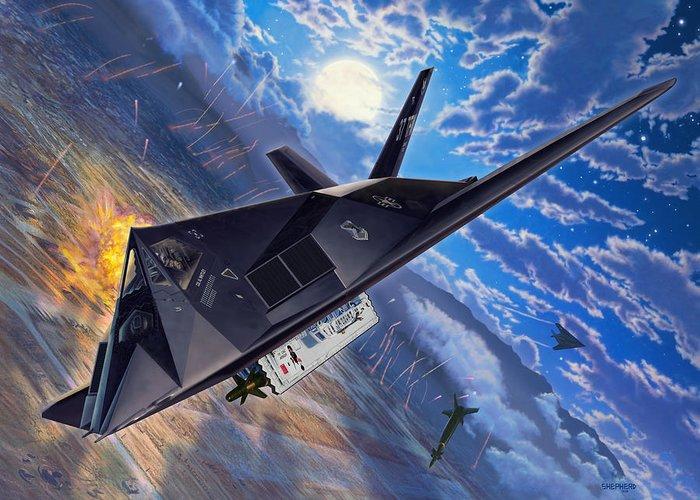 F-117 Greeting Card featuring the digital art F-117 Nighthawk - Team Stealth by Stu Shepherd