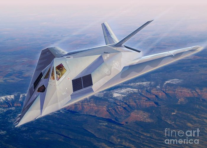 F-117 Greeting Card featuring the digital art F-117 The Dragon by Stu Shepherd