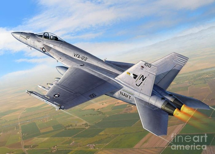 F-18 Greeting Card featuring the digital art F-18E Over the Valley by Stu Shepherd