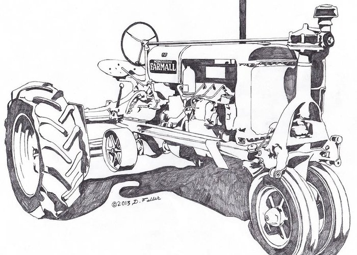Tractor Greeting Card featuring the drawing F Twenty by David Fuller