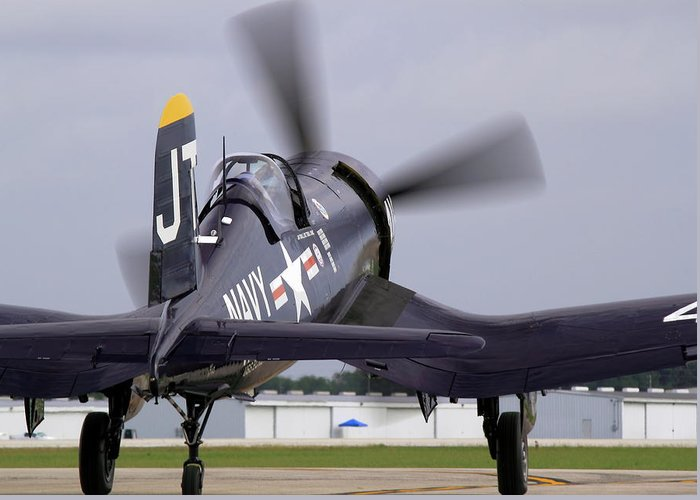 Taxi Greeting Card featuring the photograph F4u-4 Corsair Prop Wash by Howard Markel
