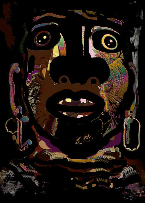 Face Greeting Card featuring the mixed media Face 15 by Natalie Holland