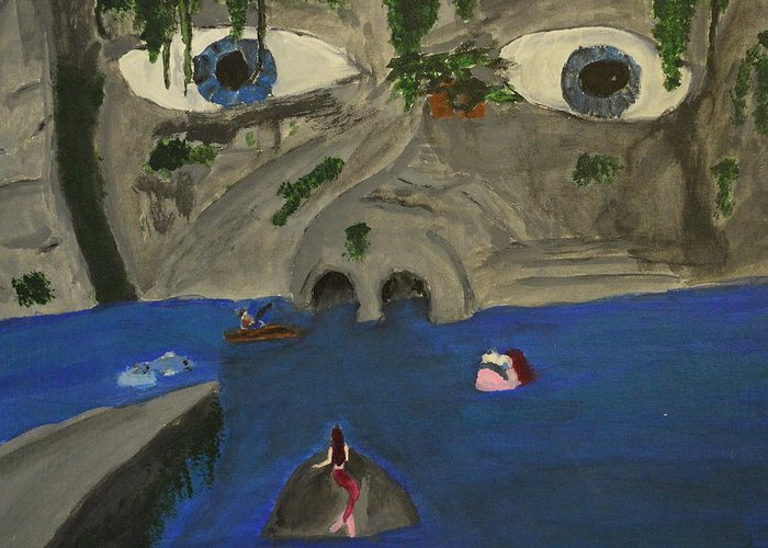 Paint Greeting Card featuring the painting Face Cave by Craig Taylor