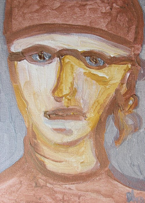Face Greeting Card featuring the painting Face Five by Shea Holliman