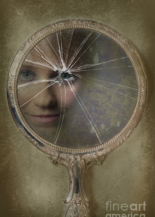 Woman Greeting Card featuring the photograph Face In Broken Mirror by Amanda Elwell