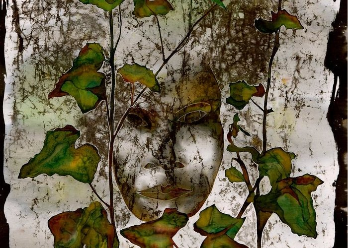 Face Greeting Card featuring the tapestry - textile Face In The Garden by Carolyn Doe