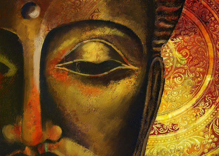 Face Of Buddha Greeting Card featuring the painting Face Of Buddha by Corporate Art Task Force