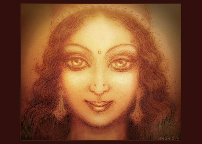 Goddess Greeting Card featuring the mixed media Face Of The Goddess/ Durga Face by Ananda Vdovic