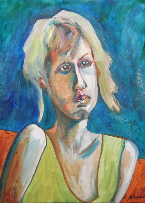 Face Of Tragedy Greeting Card featuring the painting Face Of Tragedy by Esther Newman-Cohen