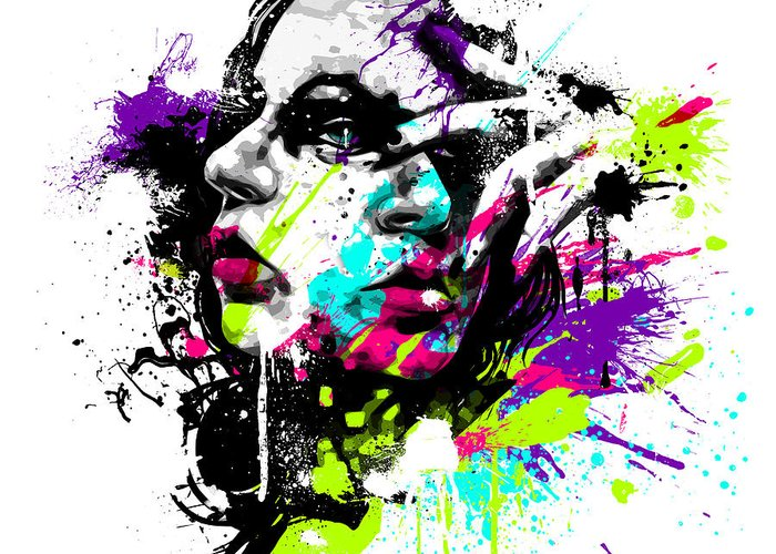 Female Greeting Card featuring the digital art Face Paint 1 by Jeremy Scott