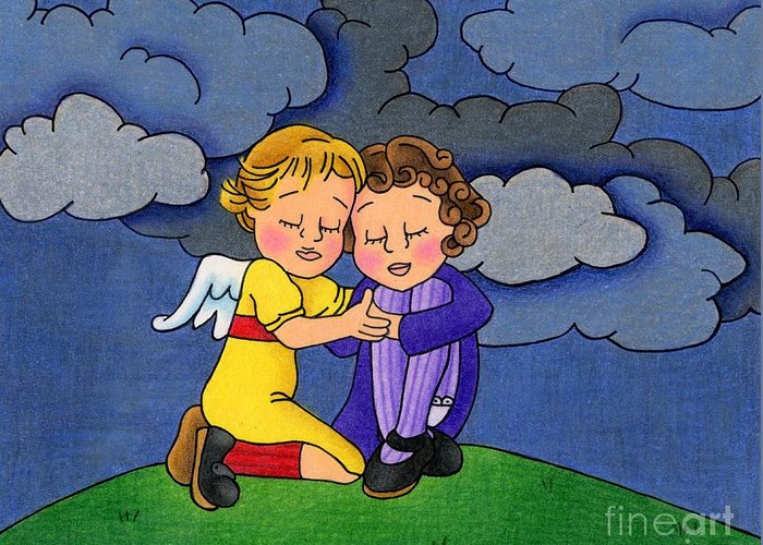 Angels Greeting Card featuring the drawing Facing It Together by Sarah Batalka