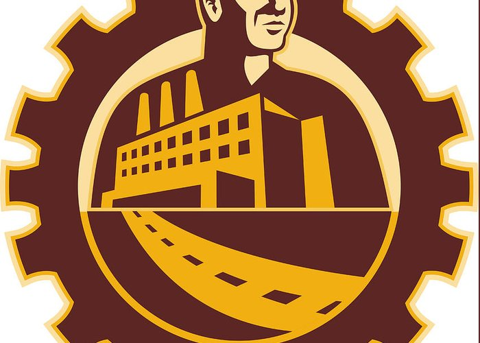 Factory Greeting Card featuring the digital art Factory Worker Mechanic With Cog Building by Aloysius Patrimonio