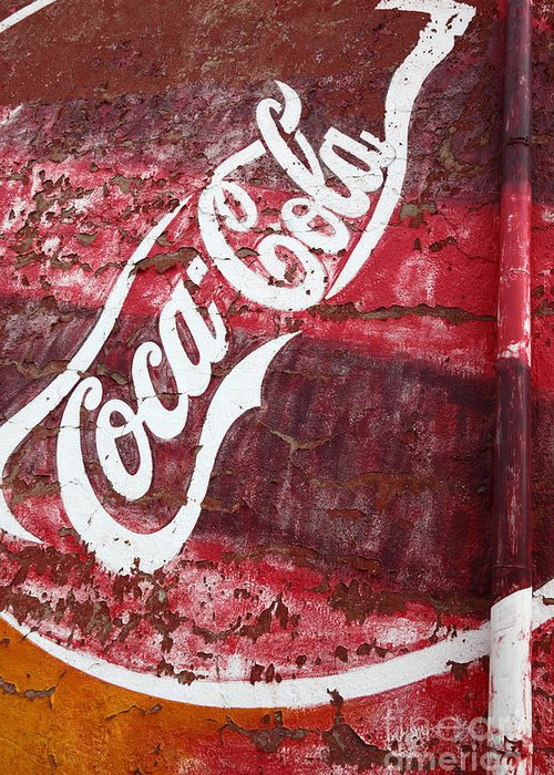 America Greeting Card featuring the photograph Faded Coca Cola Mural 2 by James Brunker