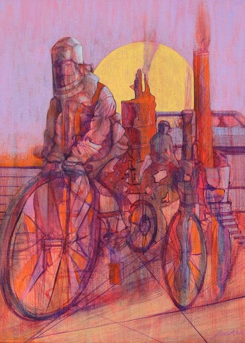 Surreal Figures On Bicycles And Machines Greeting Card featuring the painting Fahrenheit 451 by J W Kelly