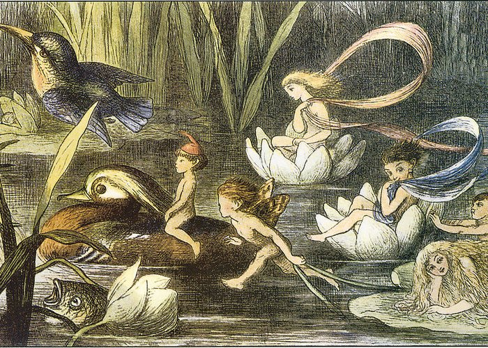 Richard Doyle Greeting Card featuring the digital art Fairies And Water Lilies Circa 1870 by Richard Doyle
