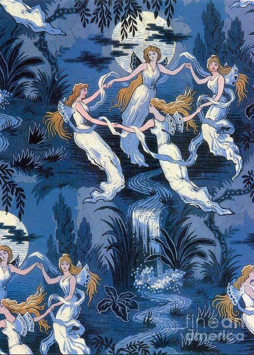 History Greeting Card featuring the photograph Fairies In The Moonlight French Textile by Photo Researchers