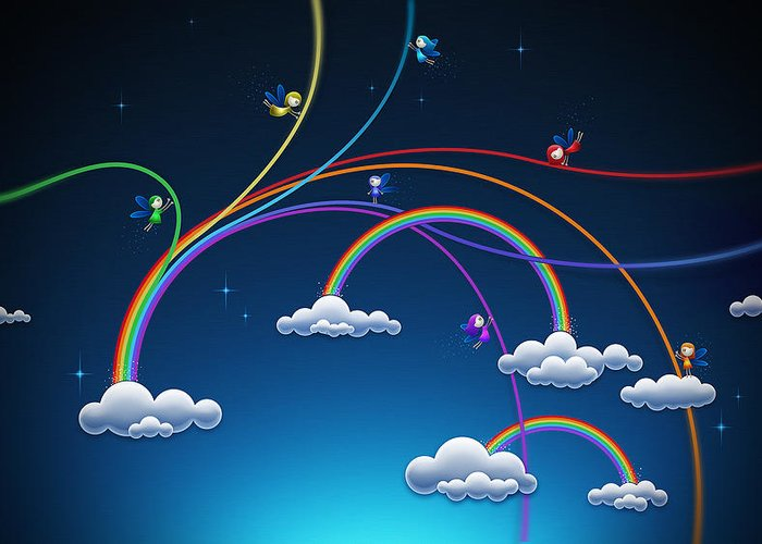 Abstract Greeting Card featuring the digital art Fairies Made Rainbow by Gianfranco Weiss