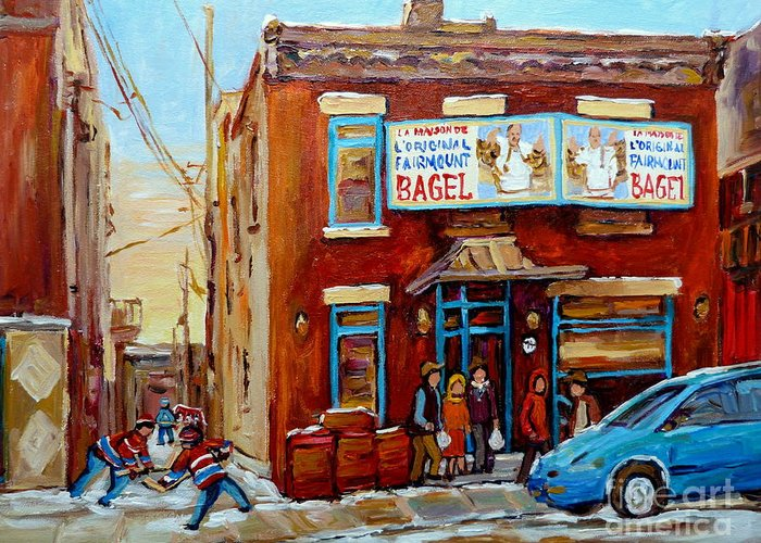 Montreal Greeting Card featuring the painting Fairmount Bagel In Winter Montreal City Scene by Carole Spandau