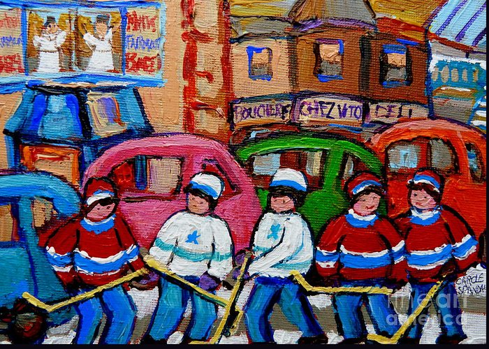 Hockey Art Greeting Card featuring the painting Fairmount Bagel Street Hockey Game by Carole Spandau