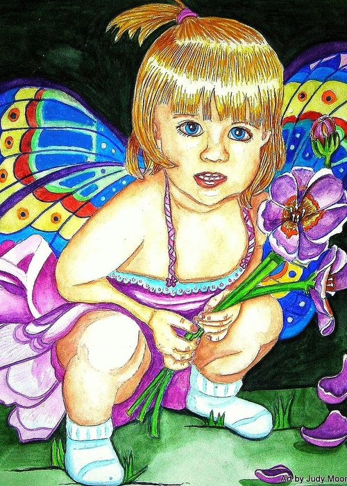 Fairy Greeting Card featuring the painting Fairy Child by Judy Moon