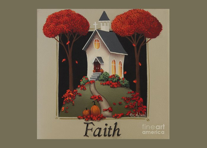Art Greeting Card featuring the painting Faith Country Church by Catherine Holman