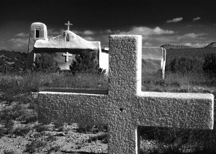 Golden Greeting Card featuring the photograph Faith - New Mexico by Ovidiu Moise