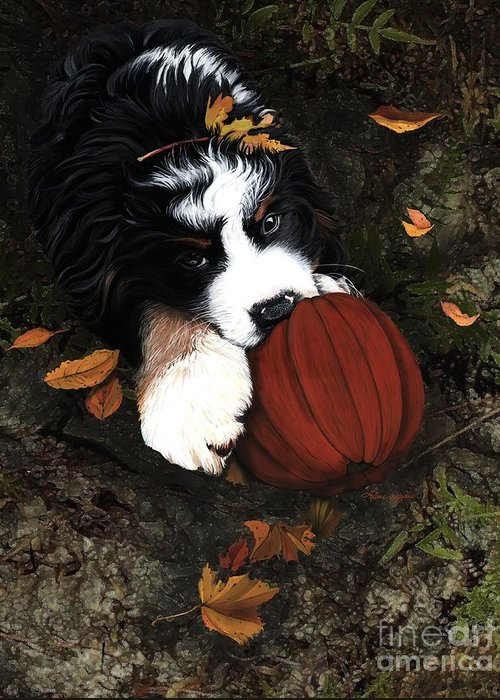 Bernese Mountain Dog Greeting Card featuring the painting Fall 4 U by Liane Weyers