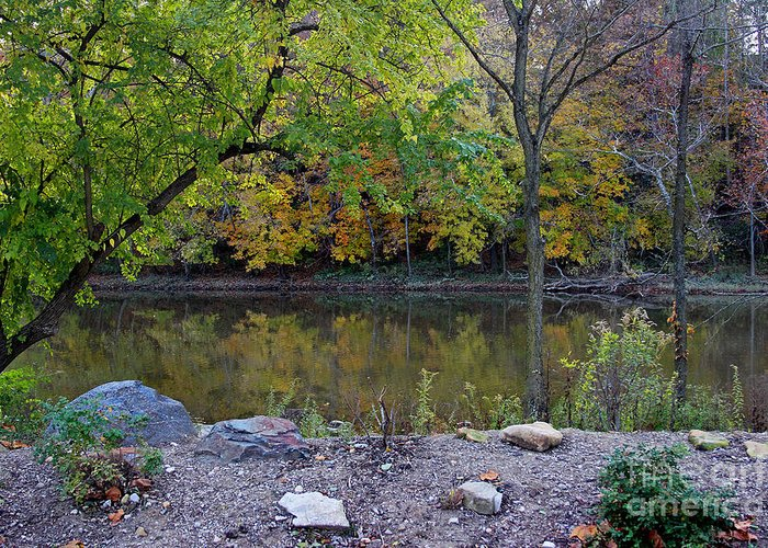 Autumn Greeting Card featuring the photograph Fall Along The Scioto River by Karen Adams