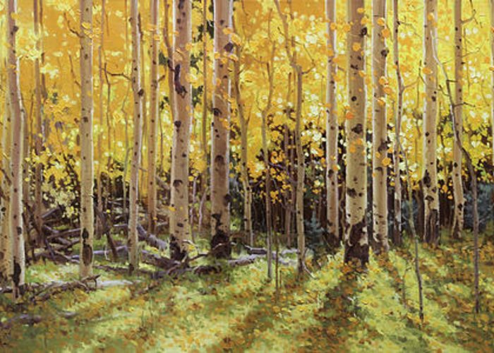 Fall Aspen Panorama Greeting Card featuring the painting Fall Aspen Panorama by Gary Kim