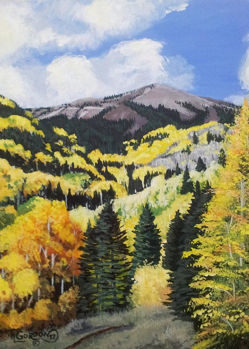 Landscape Greeting Card featuring the painting Fall At 8000 Feet by Timithy L Gordon