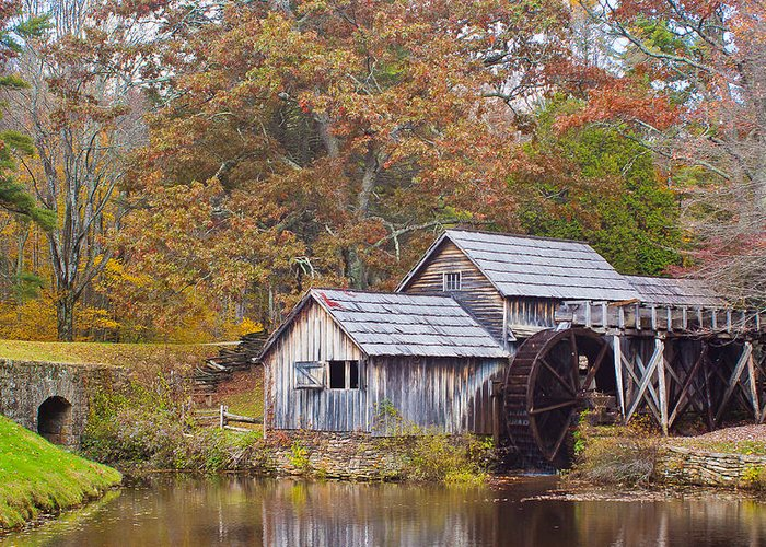 Virginia Greeting Card featuring the photograph Fall At Mabry Mill by Linda Grant