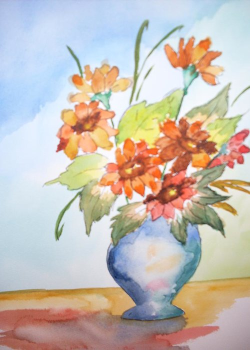 Floral Still Life Greeting Card featuring the painting Fall Bouquet by Warren Thompson