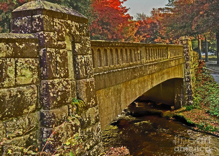Fall Greeting Card featuring the photograph Fall Bridge by Larry Bishop