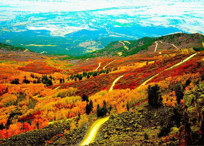 Grand Mesa Greeting Card featuring the photograph Fall Carpet At Lands End by Gerald Blaine