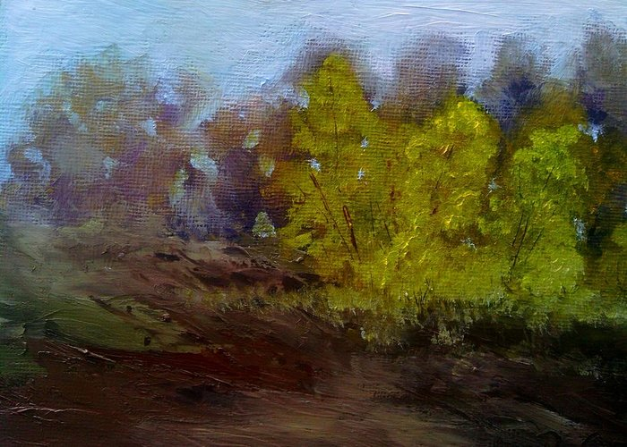 Landscape Greeting Card featuring the painting Fall Color by Dwayne Gresham