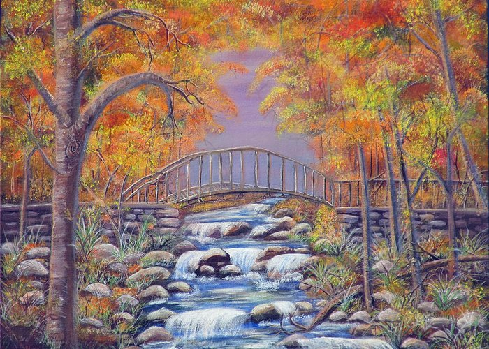Autumn Greeting Card featuring the painting Fall Falling by Mikki Alhart