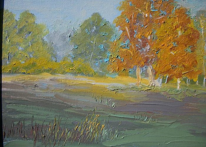 Landscape Greeting Card featuring the painting Fall Field by Dwayne Gresham