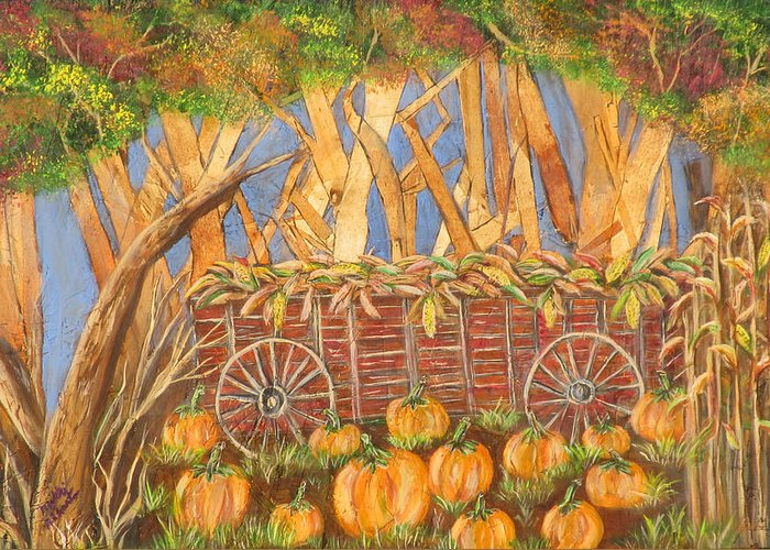 Fall Greeting Card featuring the painting Fall Harvest by Mikki Alhart