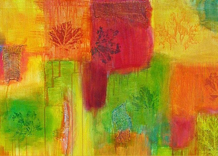 Mixed Medium Greeting Card featuring the painting Fall Impressions by Angelique Bowman