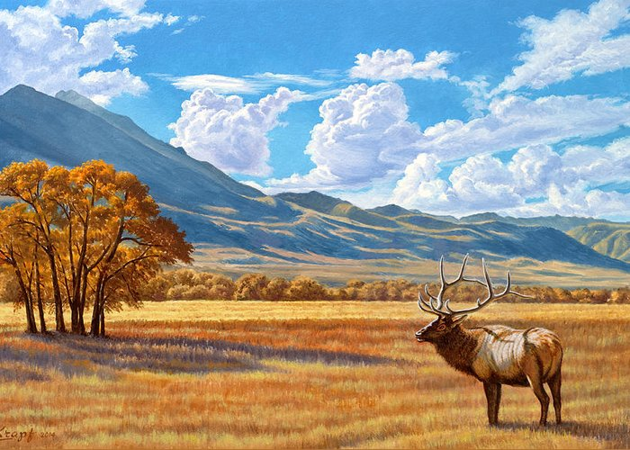 Elk Greeting Card featuring the painting Fall In Paradise Valley by Paul Krapf